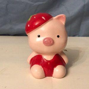 Red Strawberry Hat Piggy Bank